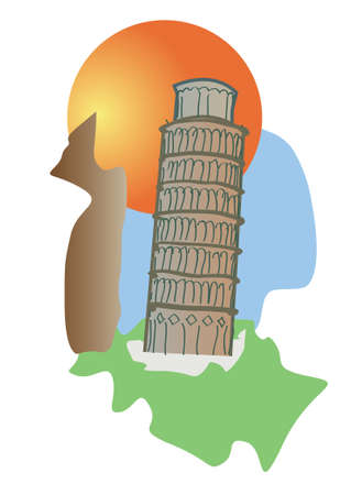Pisa Tower of Italy tourism icon  Vector