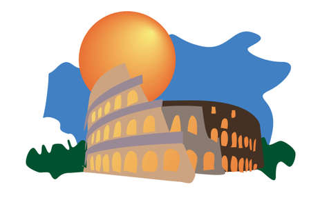gladiatorial: Colosseum of Rome tourism icon  Illustration