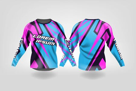 t-shirt sport design template, Long sleeve soccer jersey mockup for football club. uniform front and back view,Motocross jersey,MTB jersey. Stock Vector - 130417591