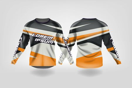 t-shirt sport design template, Long sleeve soccer jersey mockup for football club. uniform front and back view,Motocross jersey,MTB jersey.