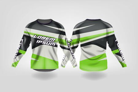 t-shirt sport design template, Long sleeve soccer jersey mockup for football club. uniform front and back view,Motocross jersey,MTB jersey. Stock Vector - 130417599