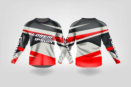 t-shirt sport design template, Long sleeve soccer jersey mockup for football club. uniform front and back view,Motocross jersey,MTB jersey. Stock Vector - 130417603