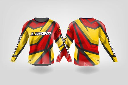 t-shirt sport design template, Long sleeve soccer jersey mockup for football club. uniform front and back view,Motocross jersey,MTB jersey. Stock Vector - 130417659