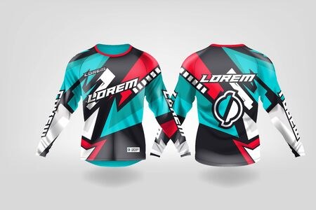 t-shirt sport design template, Long sleeve soccer jersey mockup for football club. uniform front and back view,Motocross jersey,MTB jersey. Stock Vector - 130417667