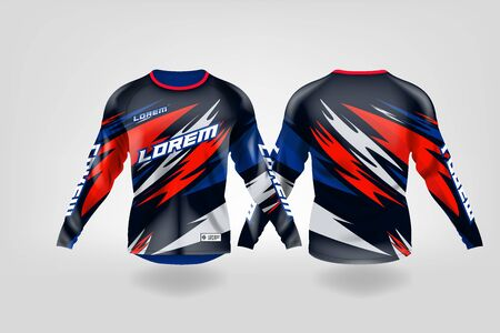 t-shirt sport design template, Long sleeve soccer jersey mockup for football club. uniform front and back view,Motocross jersey,MTB jersey. Stock Vector - 130417668