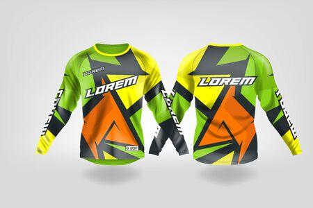t-shirt sport ontwerpsjabloon, lange mouw voetbal jersey mockup voor voetbalclub. uniform voor- en achteraanzicht, motorcross-trui, MTB-trui.