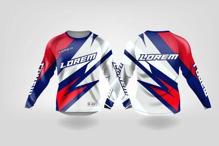 modello di design sportivo per t-shirt, mockup di maglia da calcio a maniche lunghe per squadra di calcio. vista anteriore e posteriore uniforme, maglia da motocross, maglia da MTB.