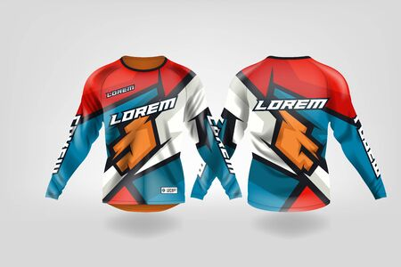 t-shirt sport design template, Long sleeve soccer jersey mockup for football club. uniform front and back view,Motocross jersey,MTB jersey. Stock Vector - 130417808