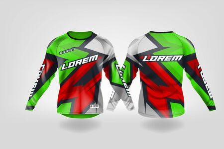 t-shirt sport design template, Long sleeve soccer jersey mockup for football club. uniform front and back view,Motocross jersey,MTB jersey. Stock Vector - 130417815