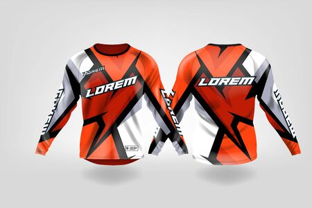 t-shirt sport design template, Long sleeve soccer jersey mockup for football club. uniform front and back view,Motocross jersey,MTB jersey. Banco de Imagens - 130417823