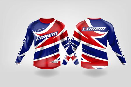 t-shirt sport design template, Long sleeve soccer jersey mockup for football club. uniform front and back view,Motocross jersey,MTB jersey. Stock Vector - 130417834