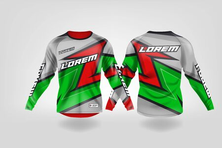 t-shirt sport design template, Long sleeve soccer jersey mockup for football club. uniform front and back view,Motocross jersey,MTB jersey. Stock Vector - 130417920