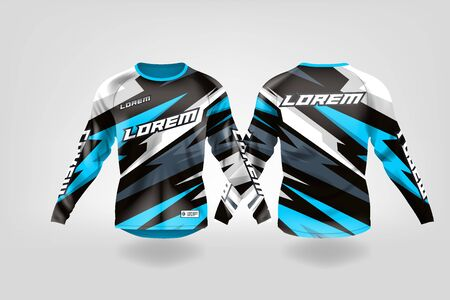t-shirt sport design template, Long sleeve soccer jersey mockup for football club. uniform front and back view,Motocross jersey,MTB jersey. Stock Vector - 130417921