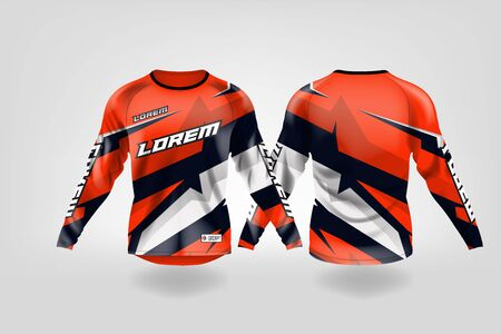 t-shirt sport design template, Long sleeve soccer jersey mockup for football club. uniform front and back view,Motocross jersey,MTB jersey. Stock Vector - 130417923