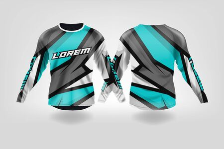 t-shirt sport design template, Long sleeve soccer jersey mockup for football club. uniform front and back view,Motocross jersey,MTB jersey. Stock Vector - 130417932