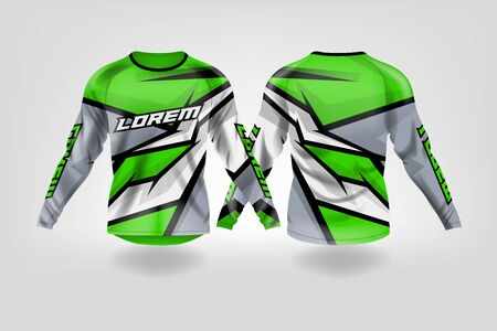 t-shirt sport design template, Long sleeve soccer jersey mockup for football club. uniform front and back view,Motocross jersey,MTB jersey. Stock Vector - 130417931