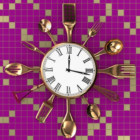 Kitchen abstract clock witch spoon and fork on creative background Stock Photo