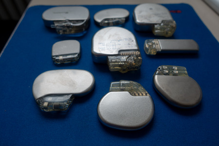 various explanted pacemakers and defibrillators and event recorders