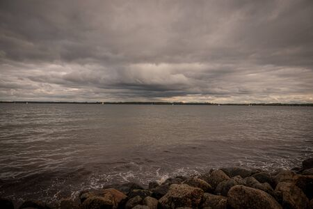 the bay of Travemünde in cloudy autumn weather Imagens
