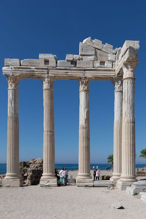 at the southern tip of Side there are many stone columns and ornaments