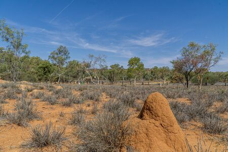 In the foreground is a huge termite heap in the Australian desert.
