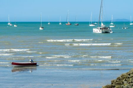 at the beach of Arlie Beach in Australia you can see many sailboats lying in the bay