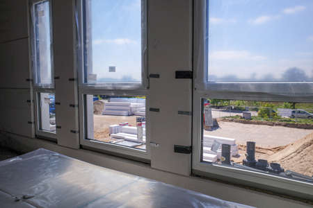 in a new building the windows have just been installed