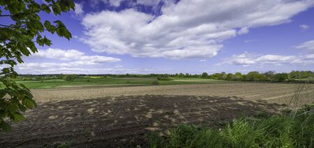 panoramic view of a landscape with white clouds in the blue sky and green fields