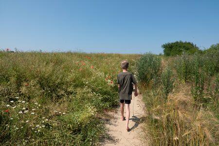 two boys walk along a narrow path with a small dog Standard-Bild