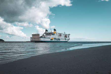 the ship Niels Holgerson of TT-Line floats out into the Baltic Sea in Luebeck-Travemuende