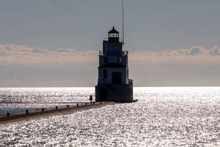 The lighthouse in lake Michigan