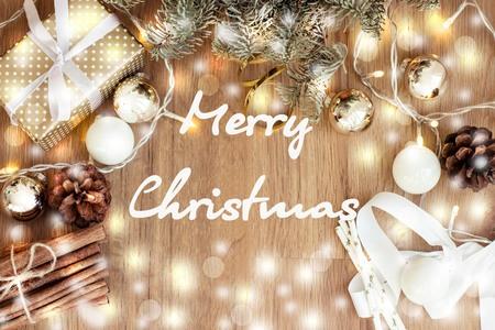 vecor: Merry christmas. Gift. Christmas mood. New Year Card Holidays