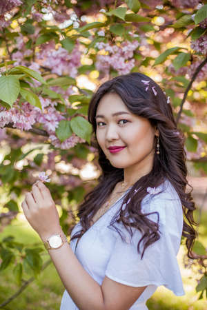 A young beautiful Asian woman in a white dress walks in a flowered park. Sakura. Blooming trees. Spring. Stockfoto