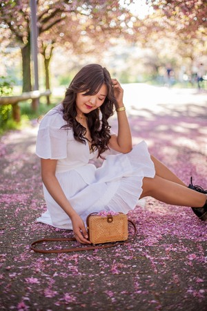 A young beautiful woman in a white dress is holding a wicker bag. Sakura. Blooming trees.