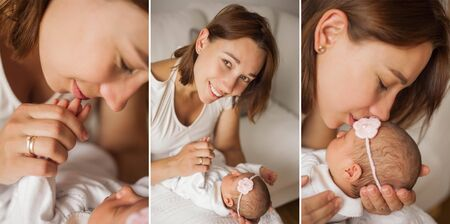 Collage. Close-up. Cute newborn baby sleeping in mothers arms. Motherhood.