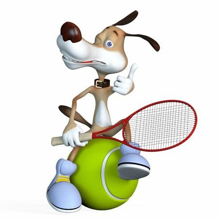 perro caricatura: Ilustración sobre un tema de un perro el tenista. Antes del campeonato. Foto de archivo