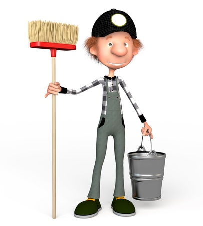 The 3D boy working with a mop. Illustration. Cartoon.