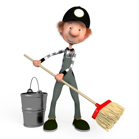cartoon cleaner: The 3D boy working with a mop. Illustration. Cartoon. cleaner.
