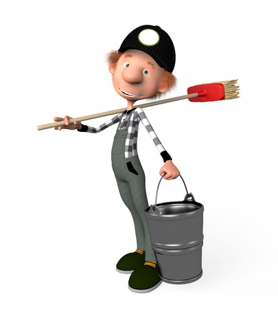 The 3D boy working with a mop. Illustration. Cartoon. cleaner. illustration