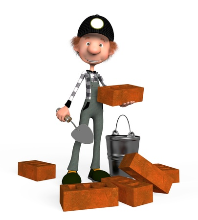 animated film: The boy the builder, lays a brick on building.
