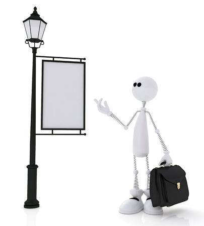 the little man: Il piccolo uomo bianco si trova vicino a un portafoglio segno. Archivio Fotografico