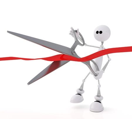 The small white person at ceremony cuts a ribbon. photo