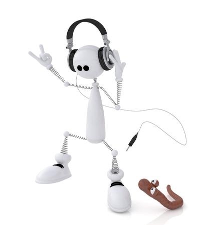 La piccola persona bianca su molle ascolta musica e danze. Archivio Fotografico - 20875543