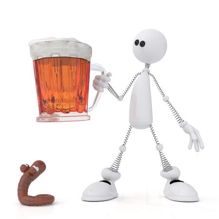 gusano caricatura: La persona blanca tiene en una mano una jarra de cerveza. Foto de archivo