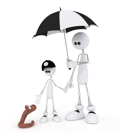 thinks: The white person on springs walks with the son with an umbrella.