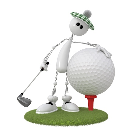cartoon character with a golf ball Stockfoto