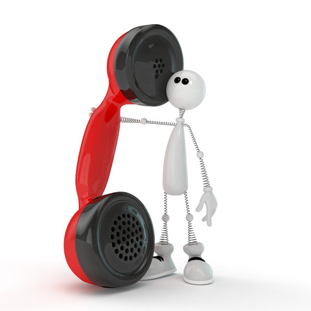 telephony: The little man with a receiver  Stock Photo