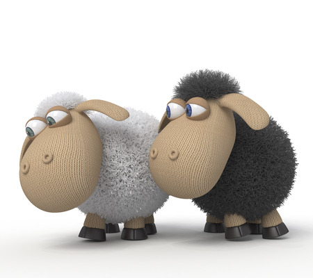 Couple of sheep in love on a lawn