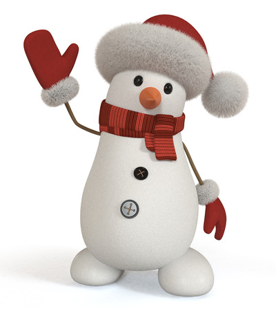 The New Year's snow character congratulates all on a holiday.