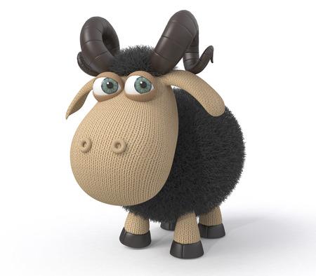 carnero: El milagro herb�voros y esponjoso es pastaban en un prado.